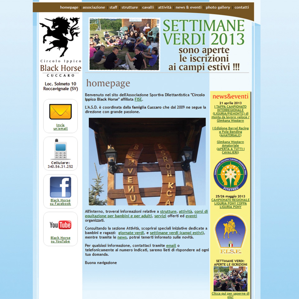 Schermata del sito www.BlackHorseSV.it (Circolo Ippico Black Horse di Roccavignale, Savona)