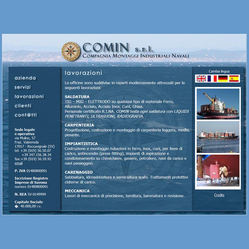 Schermata del sito Comin1961.it di Comin srl, Compagnia Montaggi Industriali Navali