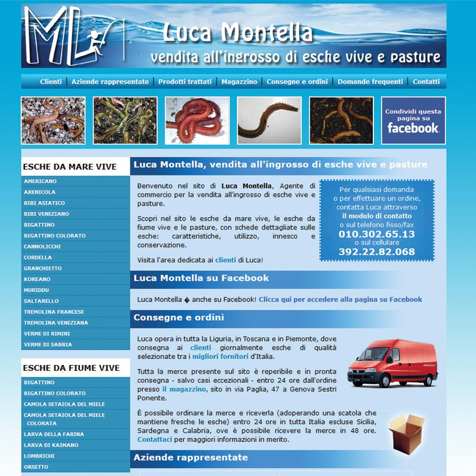 Schermata del sito di Luca Montella - Vendita all'ingrosso di esche vive e pasture