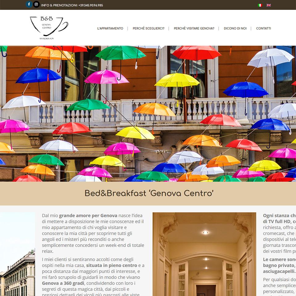 Una schermata del sito del Bed&Breakfast 'Genova Centro': www.bnbgenovacentro.it