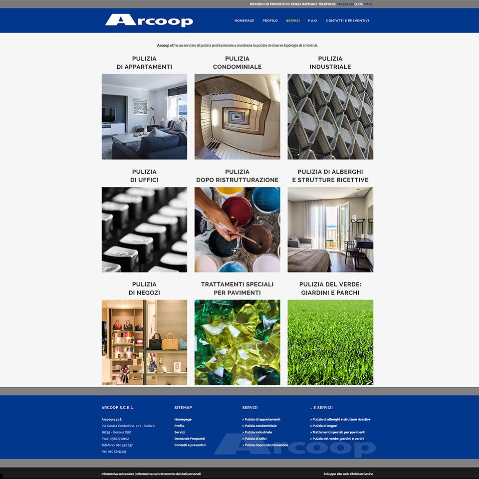 Cooperaiva Arcoop - Servizi di pulizie - Schermata del sito