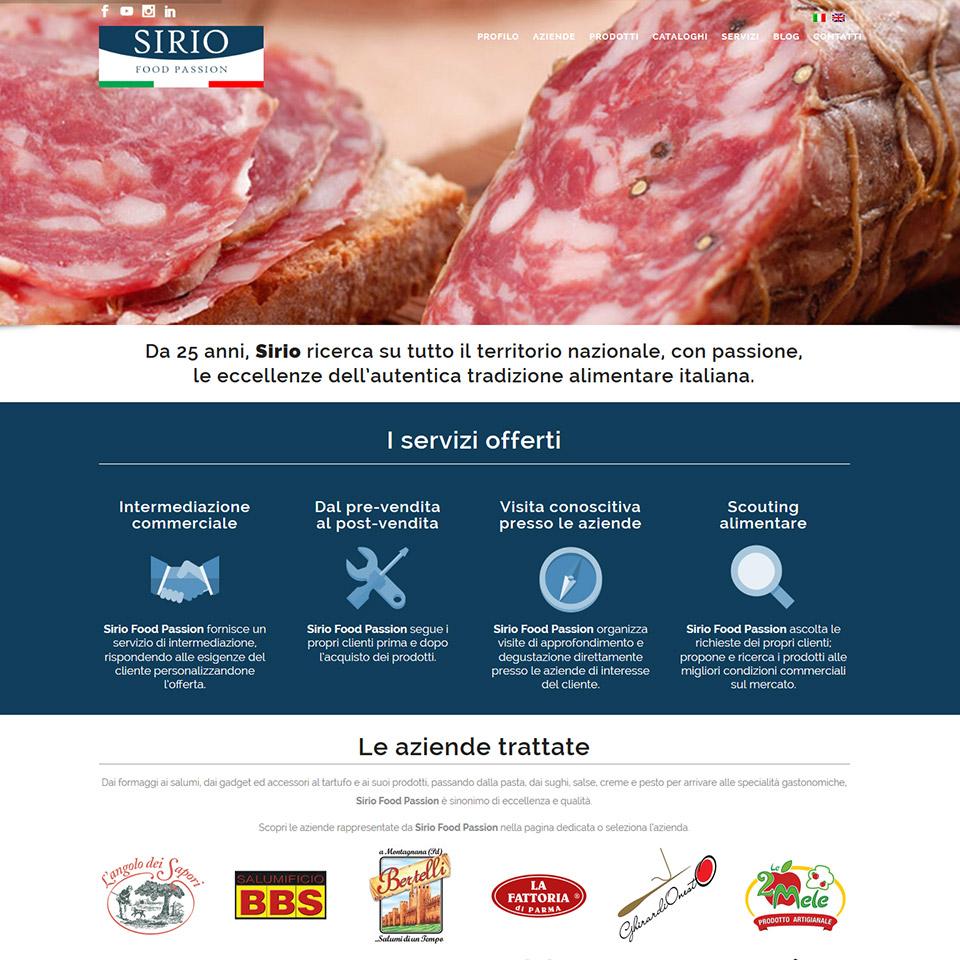 Schermata del sito web Sirio Food Passion