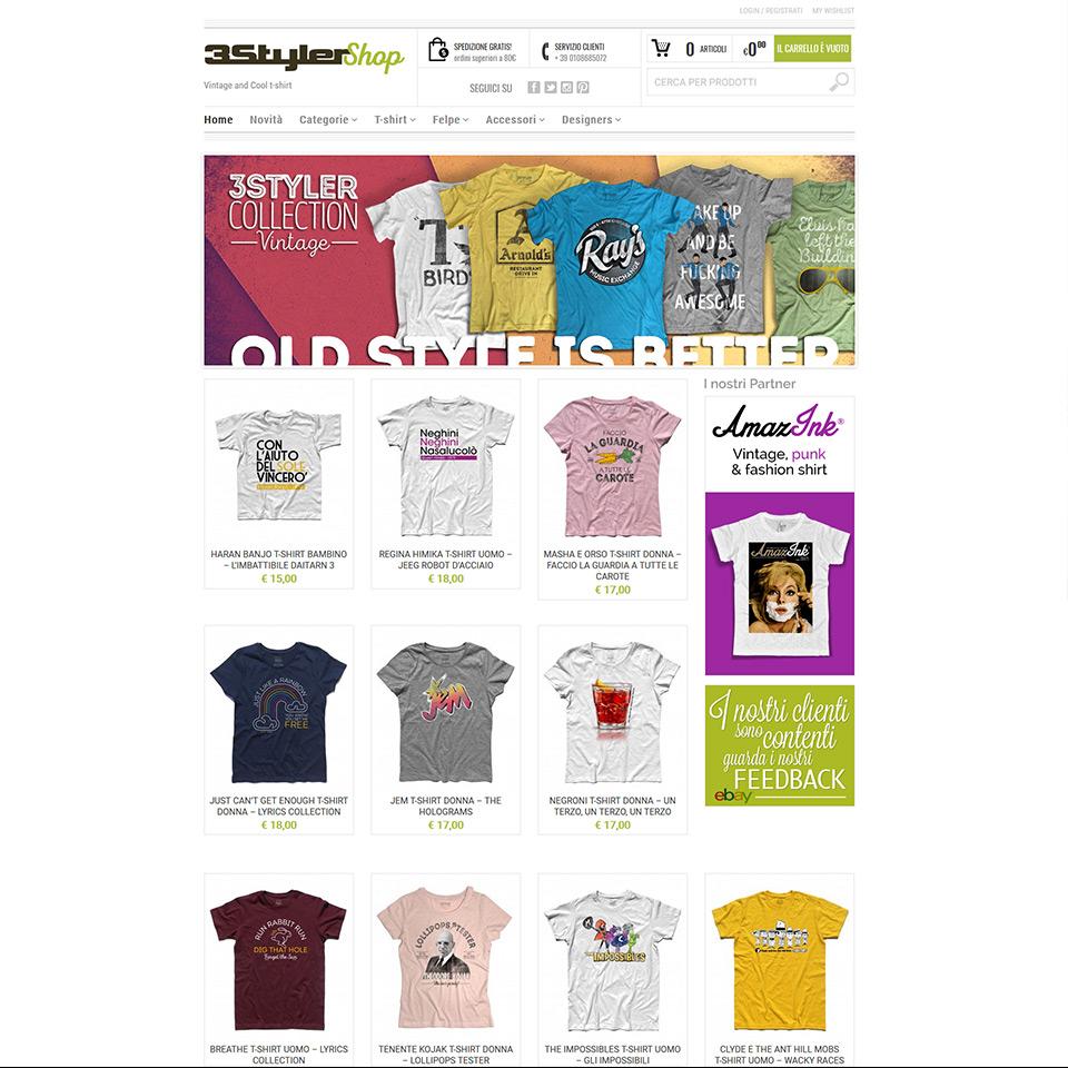 3Styler Shop - Ecommerce - Schermata del sito