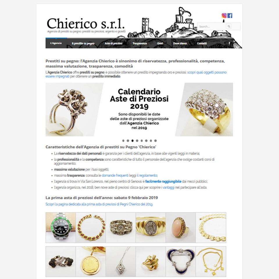 Agenzia di prestito su pegno Chierico - Schermata del sito