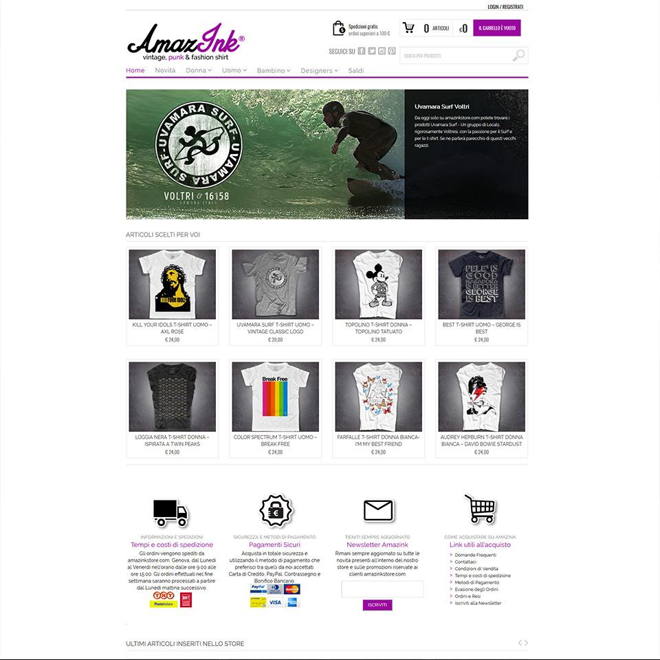 Amazink - Ecommerce - Schermata del sito