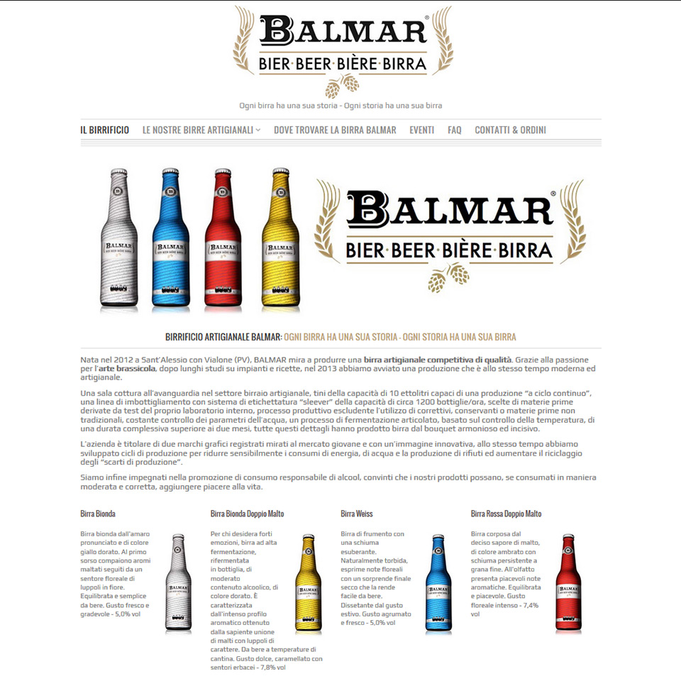 Birra Balmar - Schermata del sito