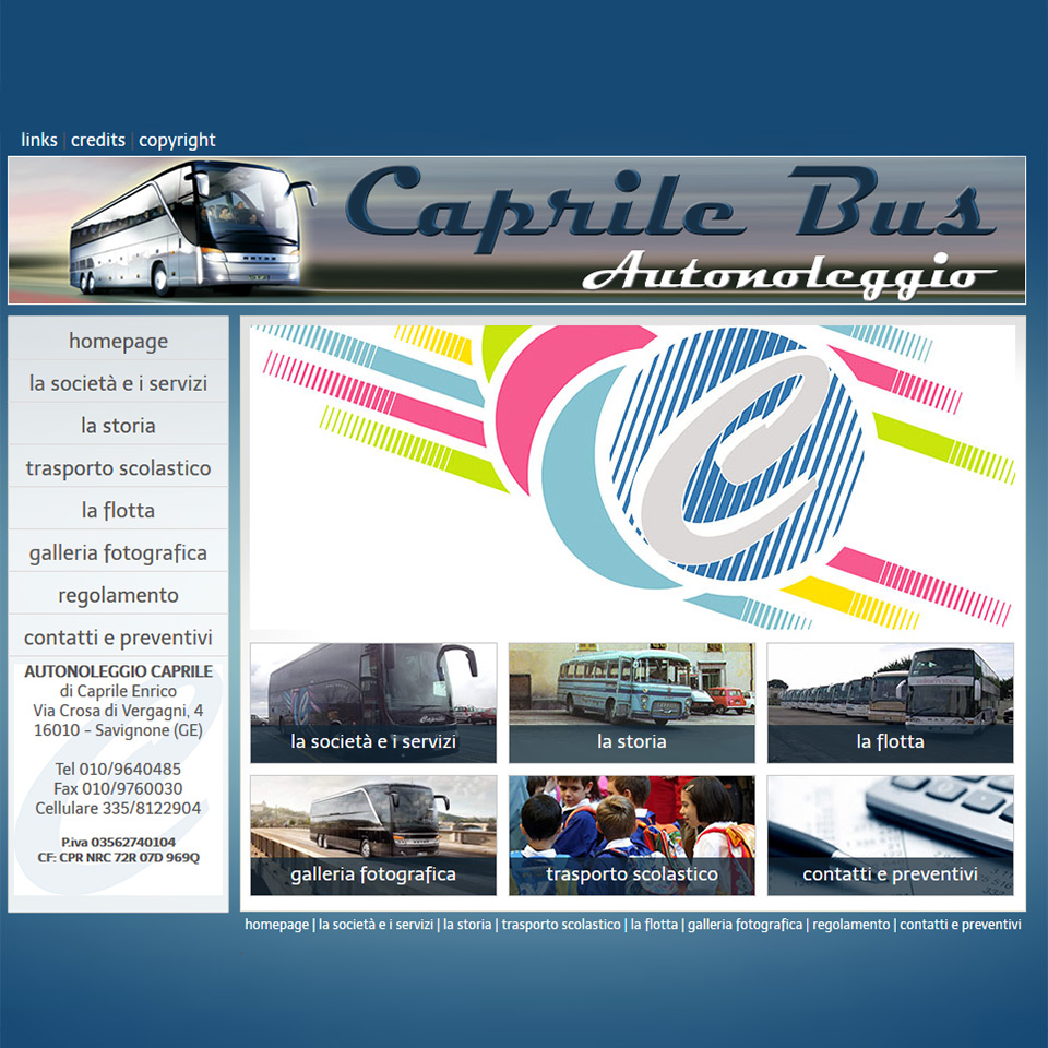 Caprile Bus - Schermata del sito