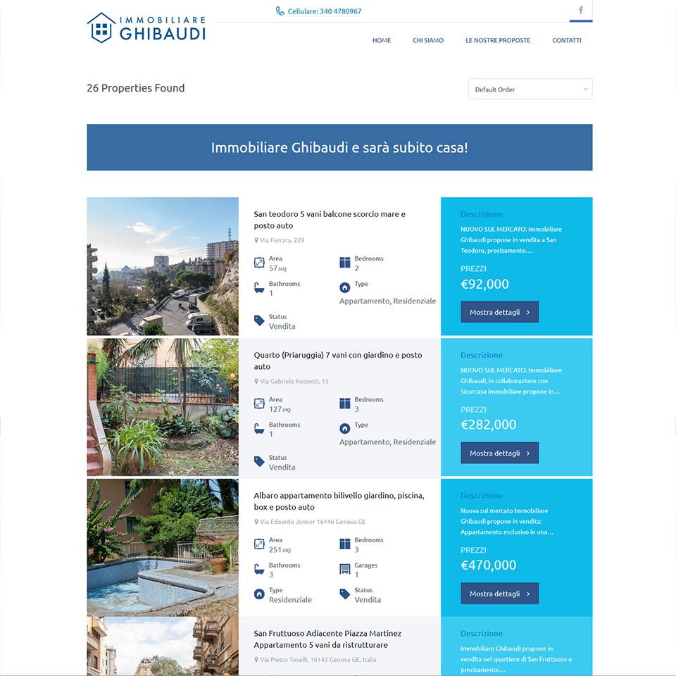 Ghibaudi Immobiliare - Schermata del sito