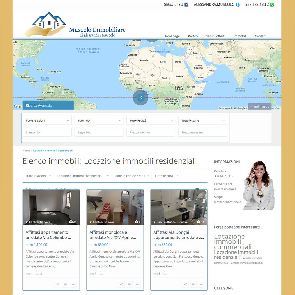 Agenzia Muscolo Immobiliare - Schermata del sito