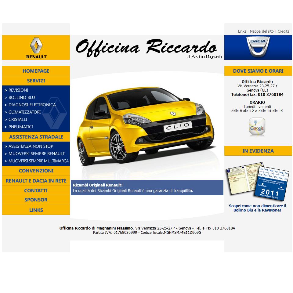 Officina Riccardo: una schermata del sito