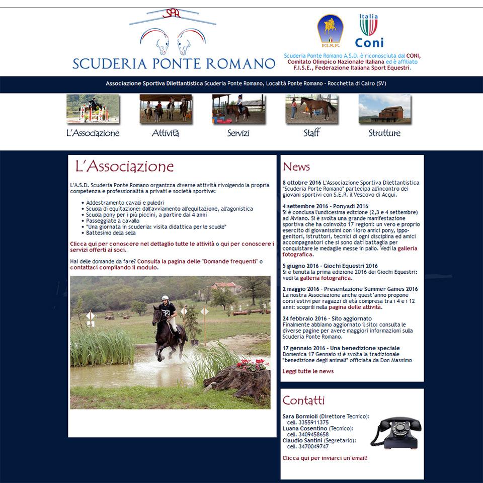 Scuderia Ponte Romano - Schermata del sito