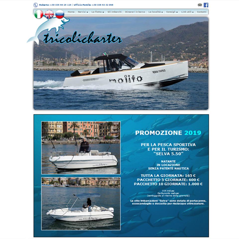 Tricoli Charter: noleggio imbarcazioni con skipper - Schermata del sito