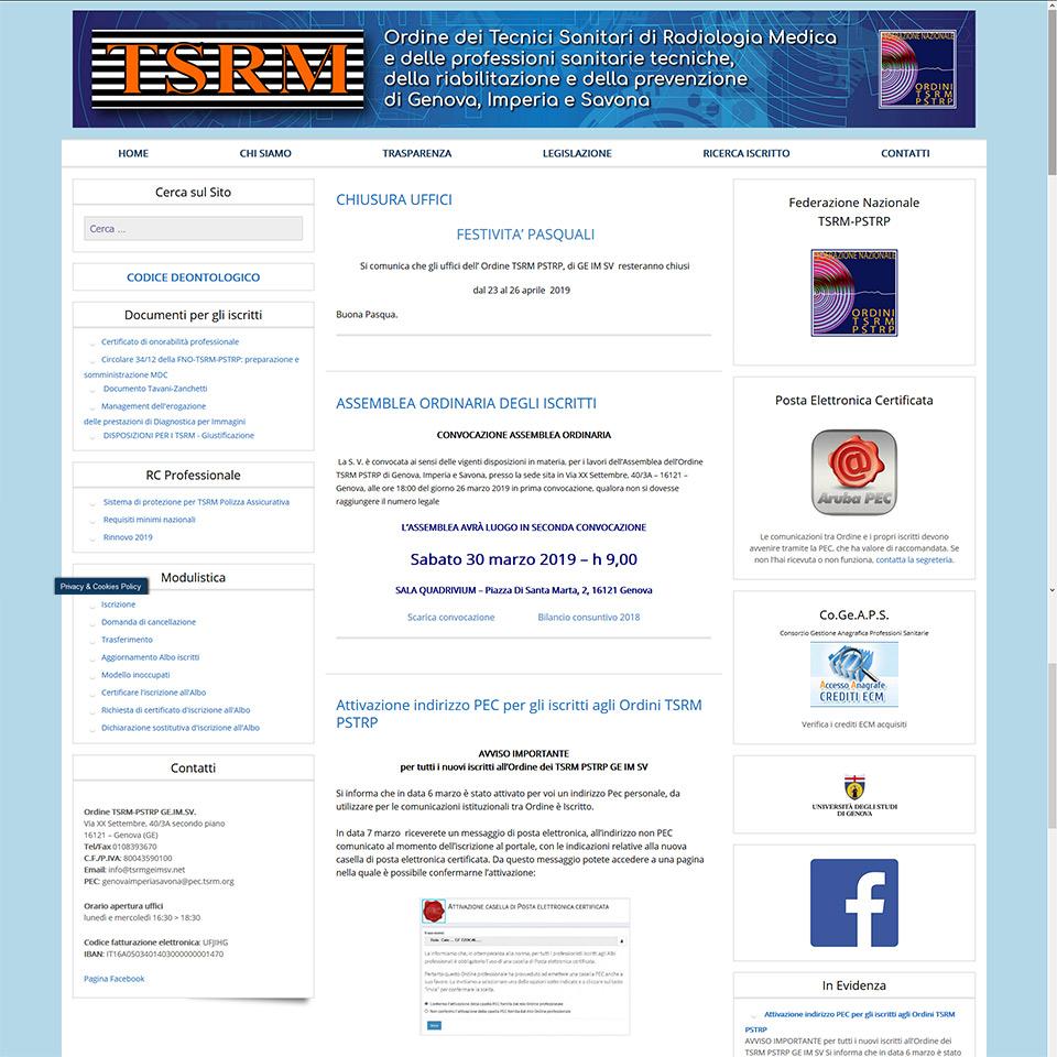 Schermata del sito www.tsrmgeimsv.net - Ordine dei Tecnici Sanitari Radiologia Medica e delle professioni sanitarie tecniche, della riabilitazione e della prevenzione delle provincie di Genova, Imperia e Savona