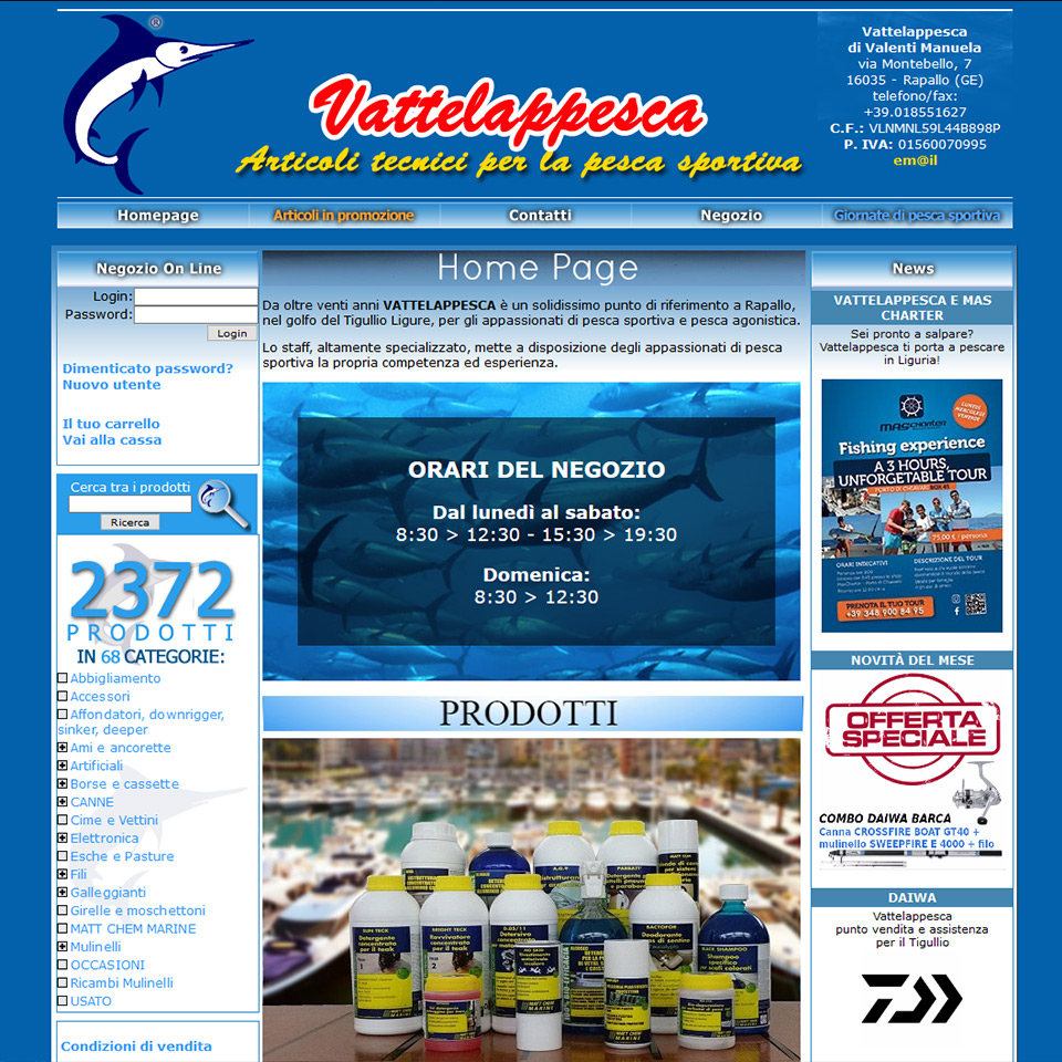 Vattelappesca: articoli tecnici per la pesca sportiva
