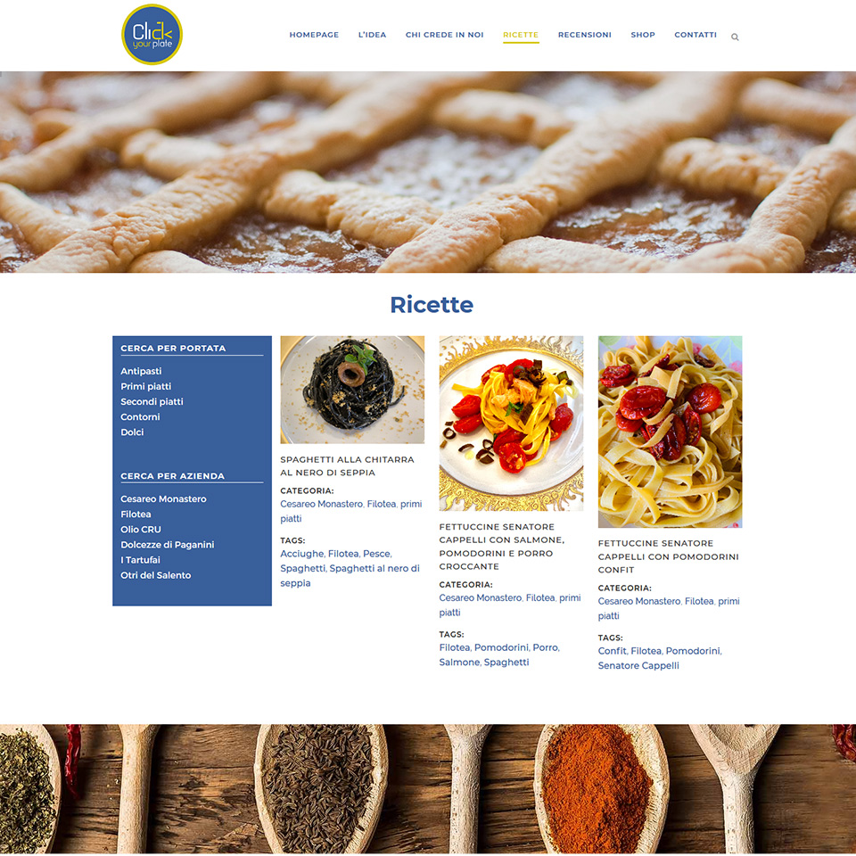 Schermata del sito di Click Your Plate