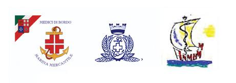 I tre loghi dell'associazione Medibordo: Associazione Nazionale Medici di Bordo della Marina Mercantile