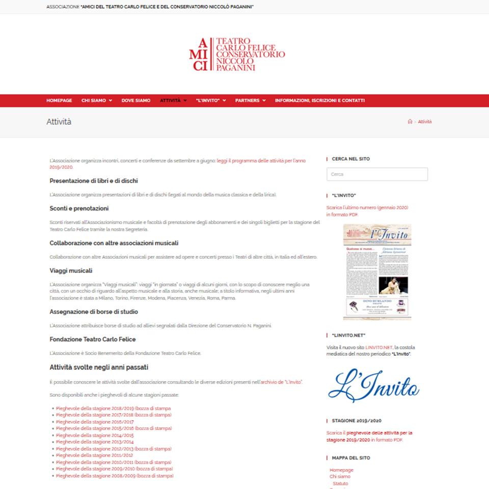 Schermata del sito del sito dell'Associaizone degli Amici del Teatro Carlo Felice e del Conservatorio Niccolò Paganini