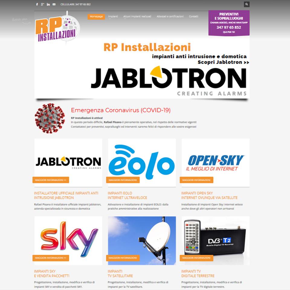 Schermata del sito antennistagenova.it - RP Installazioni - Rafael Pisano