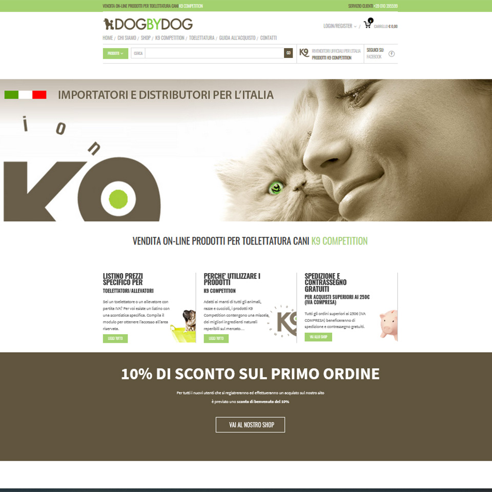 Schermata dell'homepage del sito www.dogbydog.it - Dog by Dog