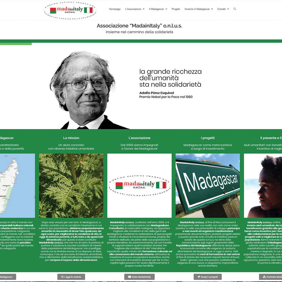 Schermata del sito madainitaly.com - Associazione Mada In Italy