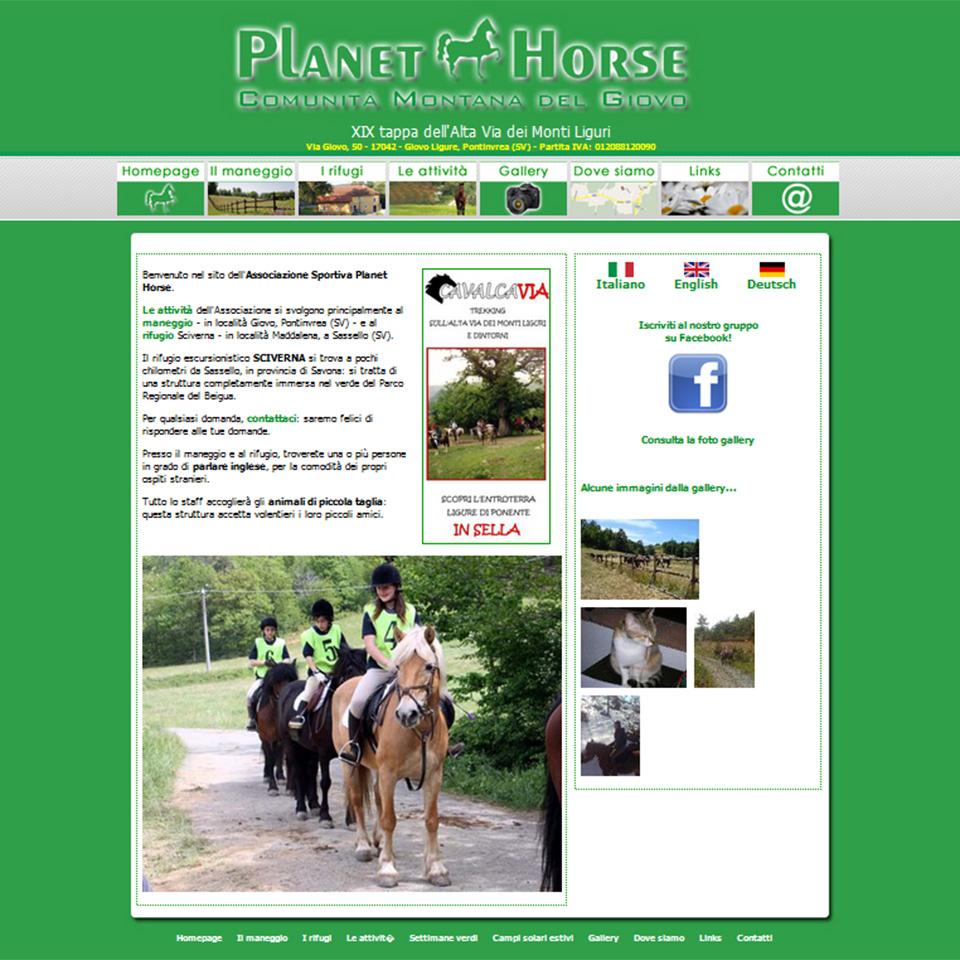 Schermata del sito dell'ASD Planet Horse