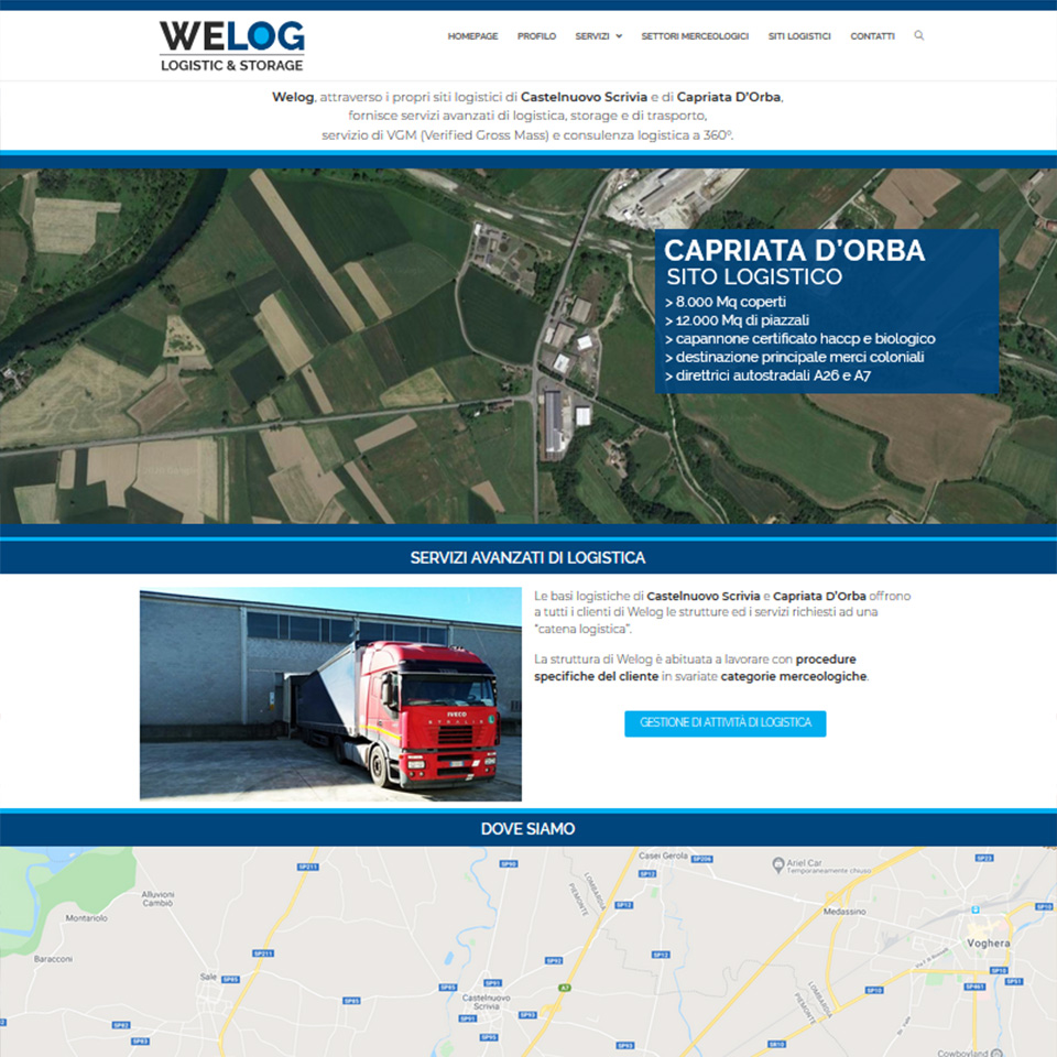 Schermata del sito di Welog - we-log.it