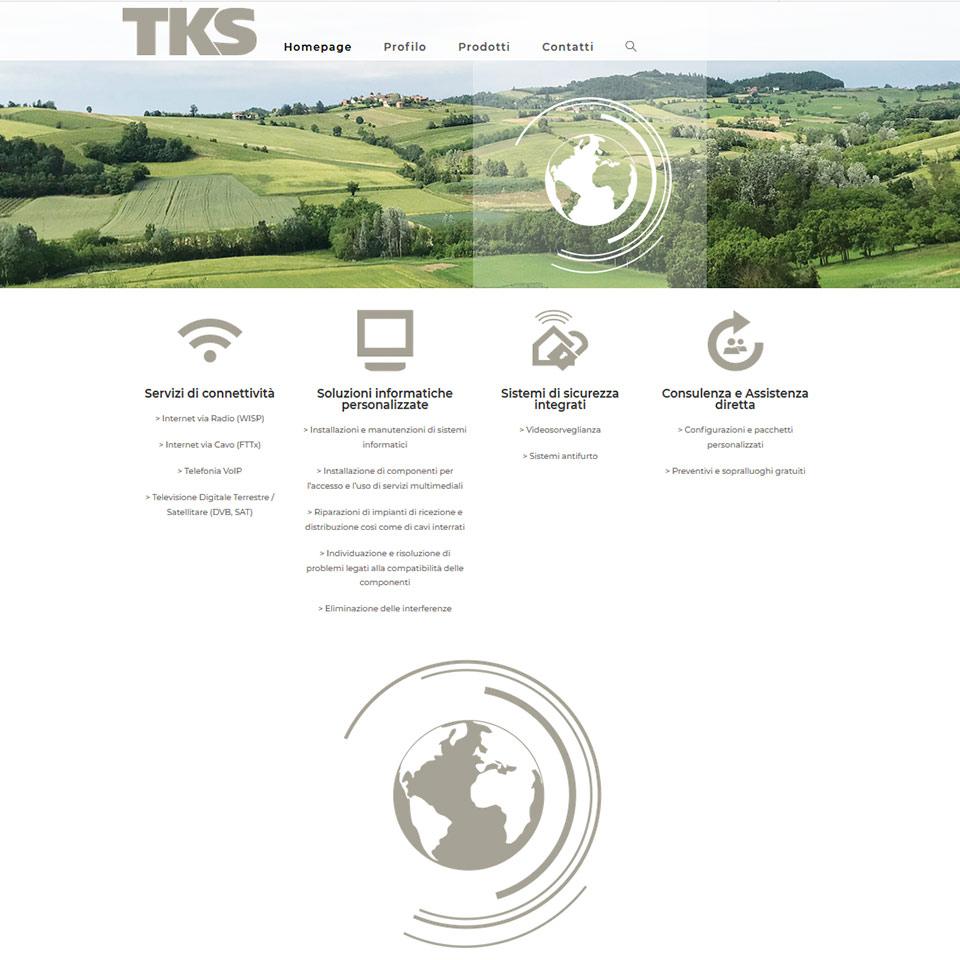 Schermata del sito web di TKS (Tele Kommunikation und Service S.r.l.): www.tks-info.it
