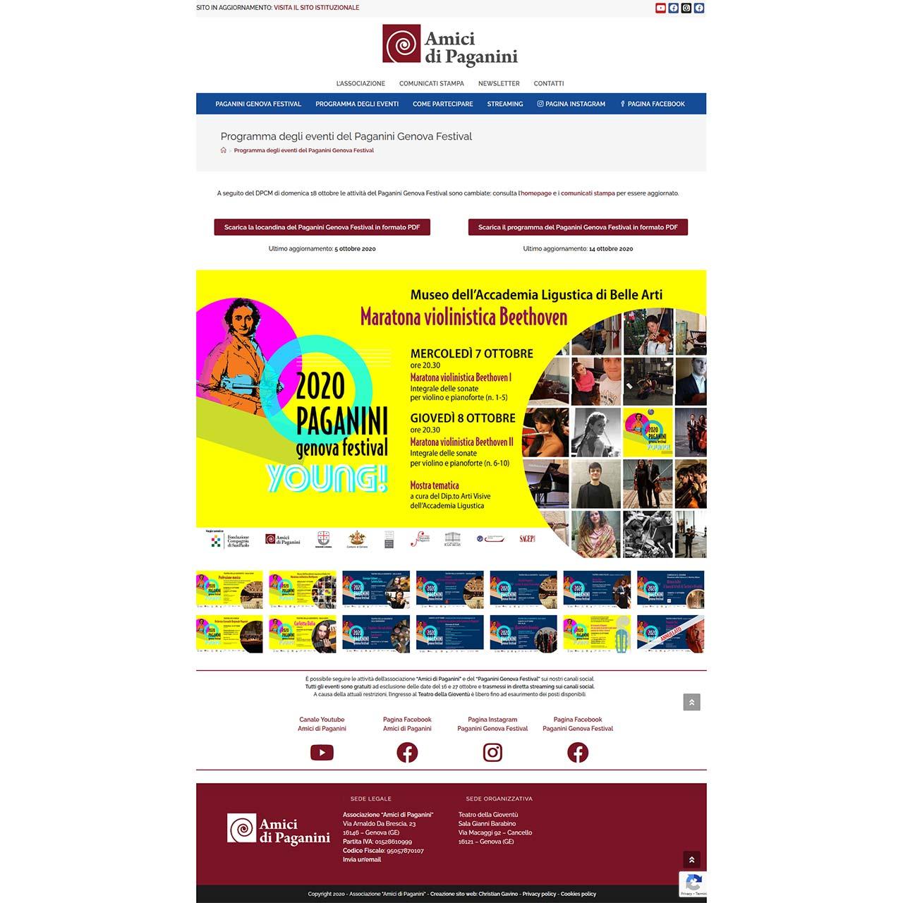 """Schermata del sito dell'associazione """"Amici di Paganini"""" (restyling 2020)"""