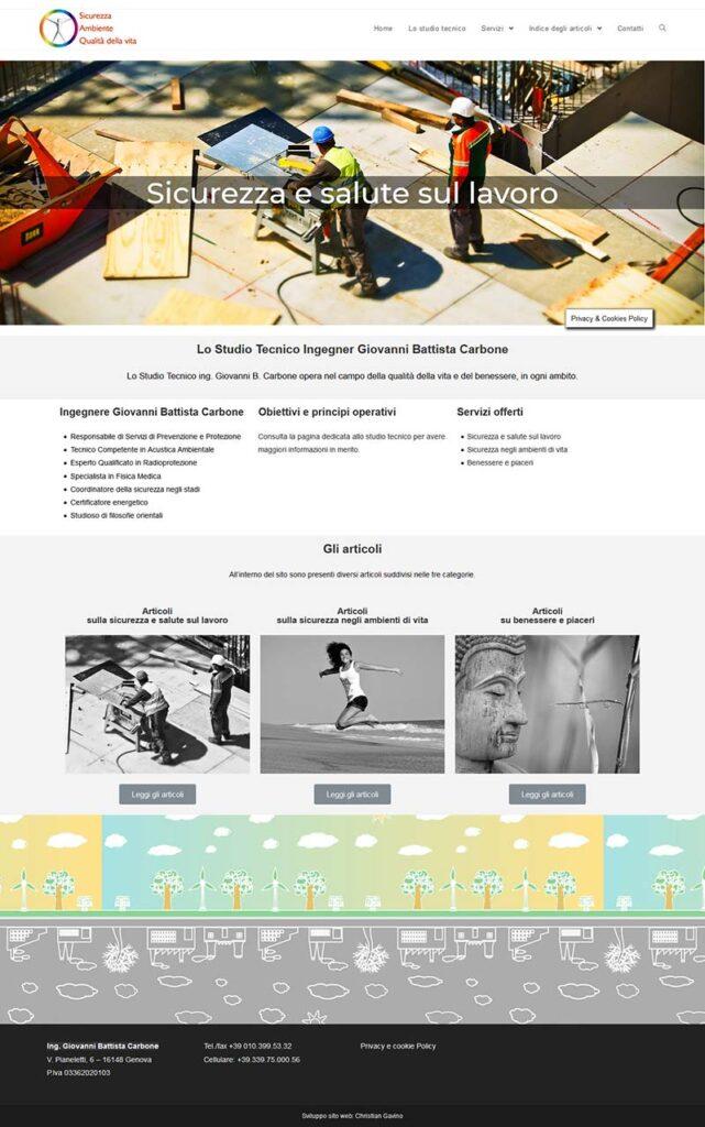 Screenshot della homepage del sito web dello Studio Tecnico Genova Ingegnere Giovanni Battista Carbone a Genova www.sicurvita.itnessere