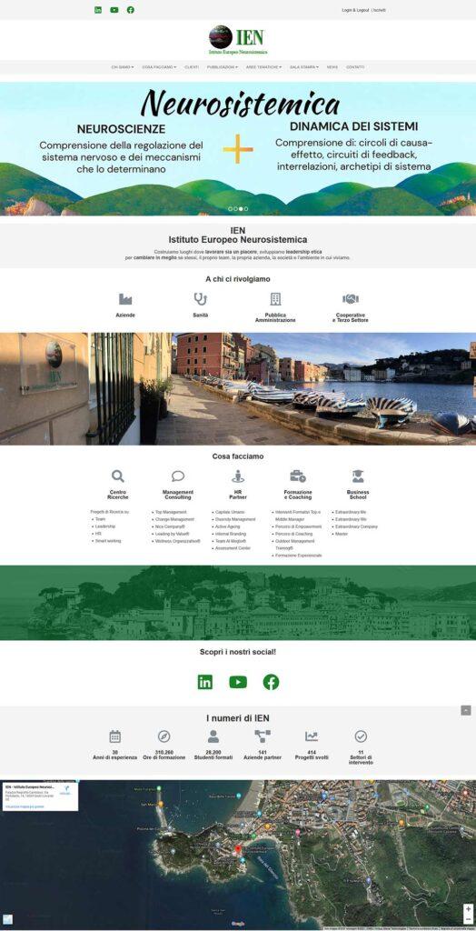 Schermata del sito ienonline.org: IEN Istituto Europeo Neurosistemica
