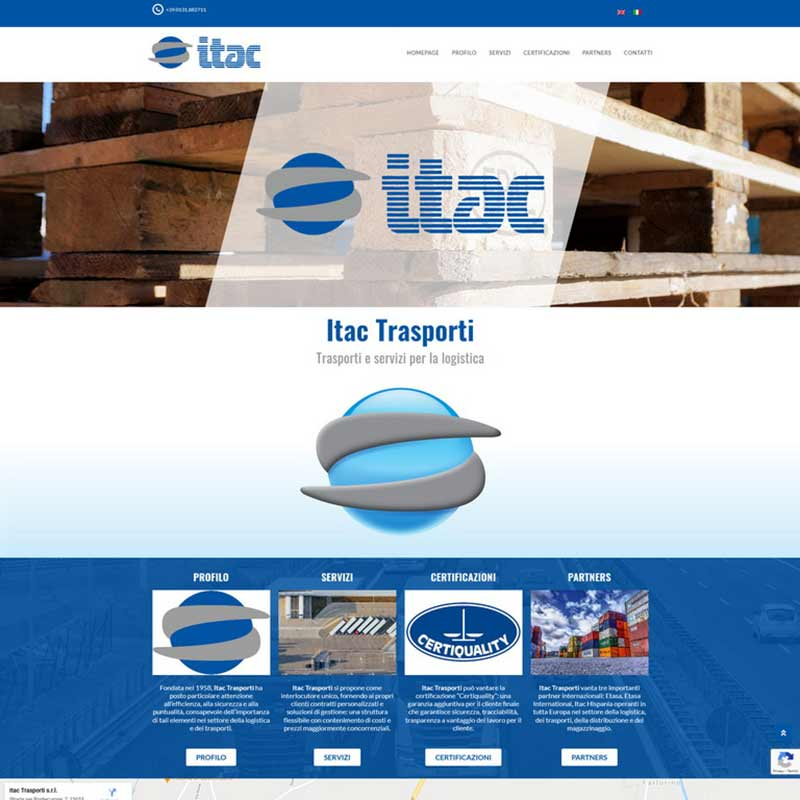 Schermata Itac Trasporti: trasporti e servizi per la logistica