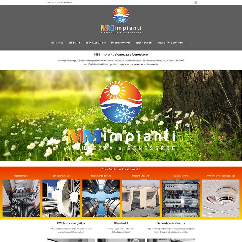 Schermata del sito web MM Impianti