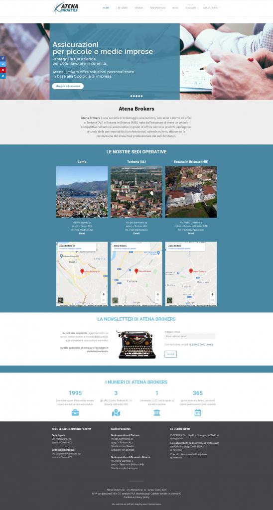 Screenshot del sito www.atenabrokers.it, Atena Brokers assicurazioni a Como, Tortona e Besana in Brianza