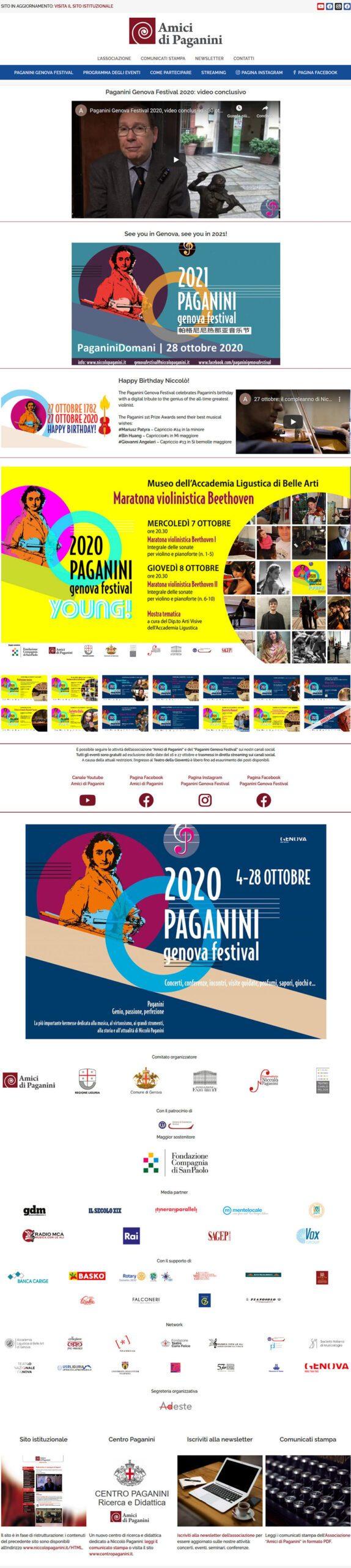 Schermata del sito degli Amici di Paganini